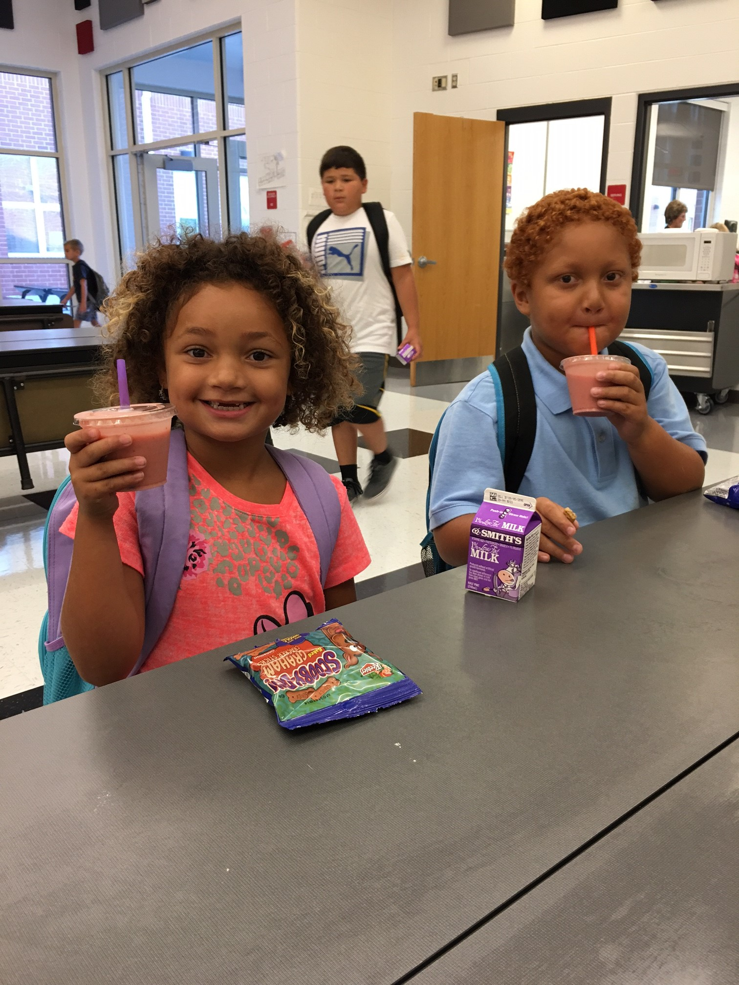 Loving their strawberry-banana smoothies for breakfast at PCE