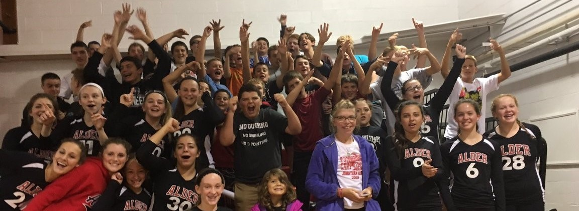 JH Volleyball Team & Student Cheering Section