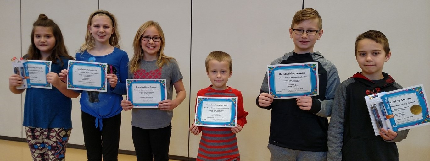 Photo of PCES Handwriting Contest Winners