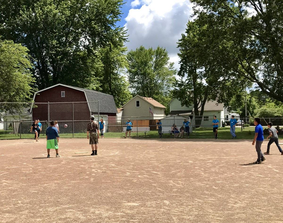 Kids playing kickball at DNA summer program