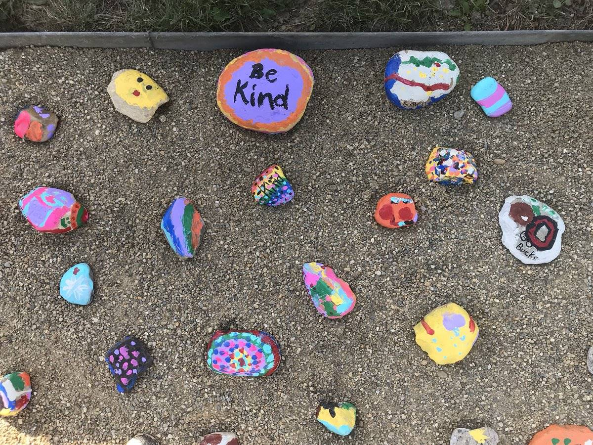 Kindness Rocks at PCES rock garden